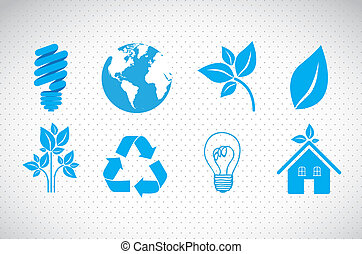 ecological icons - illustration of ecological blue icons on...