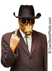 gas mask - Businessman in gas mask & cowboy hat. Isolated on...