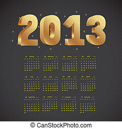 calendar 2013 - illustration of calendar 2013, with numbers...