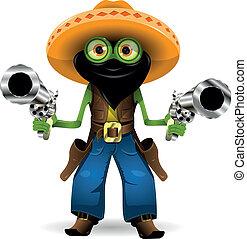 frog criminal - Illustration criminal frog in hat with two...