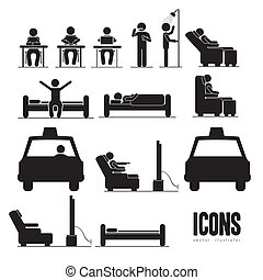 everyday activities - Illustration of silhouettes of humans...