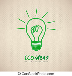sketch of green light bulb