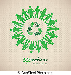 ecological icon - illustration of ecological icon around...