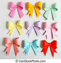 Bow Origami - Set of nine origami paper bows in variety...
