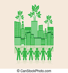 people holding hands - Illustration of an ecological city...