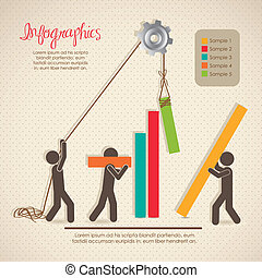 Infographics, building with bars silhouettes, vector...