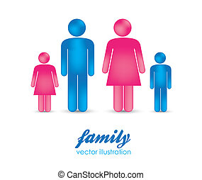 people that make a family - Illustration of silhouettes of...