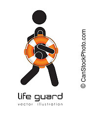 lifeguard - Illustration of silhouette of man lifeguard,...