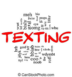 Texting Word Cloud Concept in red and black - Texting Word...