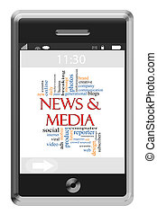 News & Media Word Cloud Concept on Touchscreen Phone