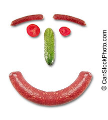 sausage face - Composition from sausages vegetables...