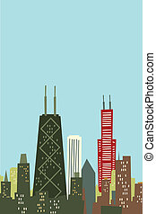 Cartoon Chicago Skyline - Cartoon skyline silhouette of...