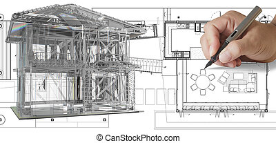 house model on blue print - illustration of house model on...