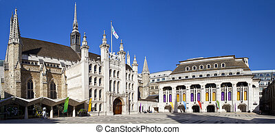 London Guildhall and Guildhall Art Gallery - Panoramic view...