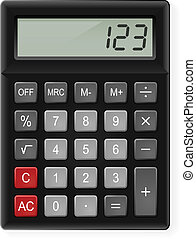 Calculator - Top View of Black Calculator Illustration on...