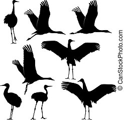 crane silhouette - set of vector illustration - crane