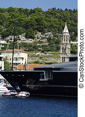 bow of luxury yacht - Luxury mega yacht in Hvar, Croatia