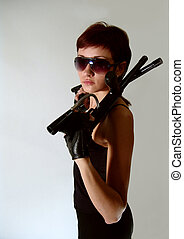security theme - Bodyguard girl with two guns. Isolated on...