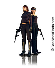 security theme - Bodyguard girls with guns. Isolated on...