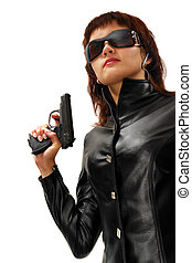 Sequrity girl - Security girl with gun Isolated on white