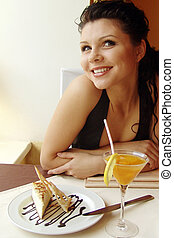 restaurant 3 - Girl in a restaurant interior. Served table.
