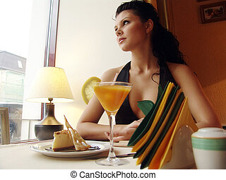 restaurant 4 - Girl in a restaurant interior Served table