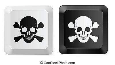 Skull key - Black and White Skull button. Illustration for...