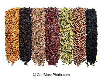 Indian spices 8 pcs Isolated on white From South India...