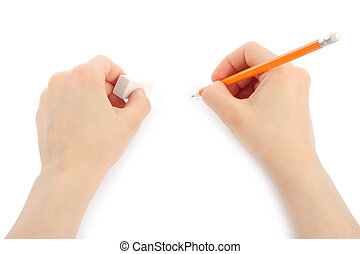 Woman hands with pencil and eraser on white background