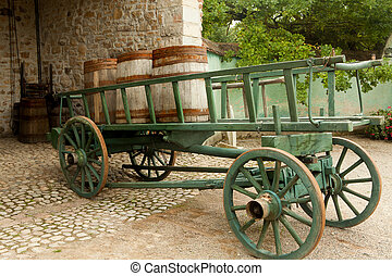 Cart with wine barrels - Wine barrels on a cart in the eco...