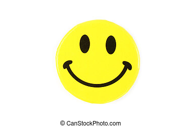 Yellow happy face pin on white background