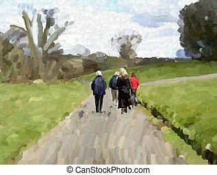 country walk - Abstract painting with thick brush strokes of...
