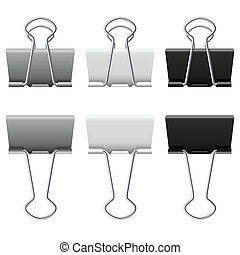 Binders clips - Gray binder clips Illustration on white...