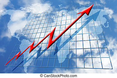 Rising global profits - Conceptual image depicting rising...
