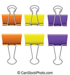 Binder clips - Color binder clips Illustration on white...