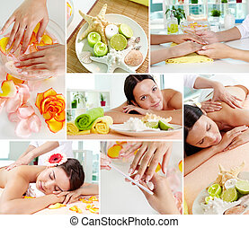 Spa beauty - Collage of pretty girls spending time in spa...