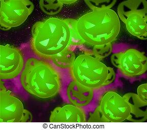 Halloween Green Pumpkin Background