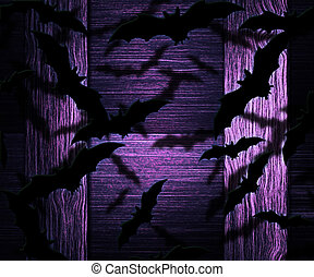 Bats Halloween Violet Background