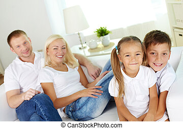 Happy siblings - Portrait of happy children looking at...