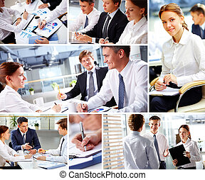 Working together - Collage of business people during work