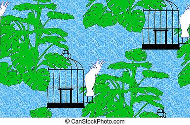 Seamless, fond, perroquet