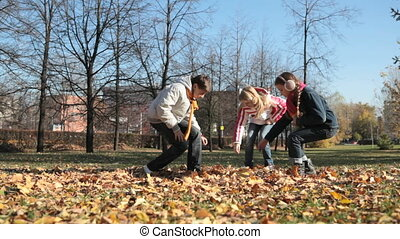Herbarium - Schoolchildren gathering withered leaves for...