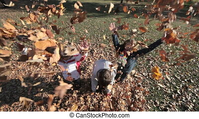 Falling leaves - Three friends having fun throwing heaps of...