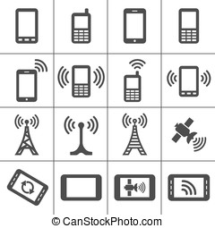 Web icons set - Simplus icons series Mobile devices and...