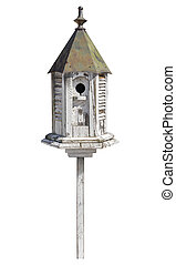 Old Birdhouse Isolated with clipping path