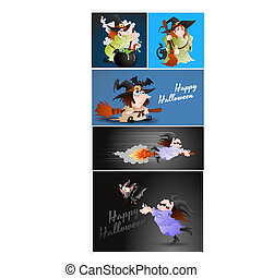 Halloween Witches - Creative Abstract Conceptual Design Art...