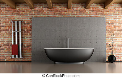 Minimalist bathroom with black bathtub in front a cement and...