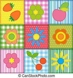 Patchwork with flowers, cherry, apple and strawberry