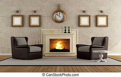 Vintage living room with two armchair and fireplace -...