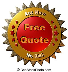 Free Quote - A 3D red and gold seal with 5 stars indicating...
